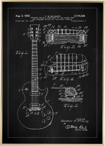 Patenttegning - El-guitar I - Sort Plakat