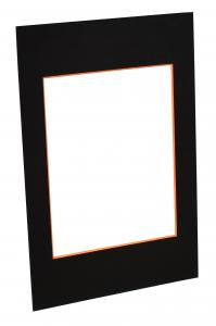 Passepartout Sort (Orange kerne) - Bestilt efter mål