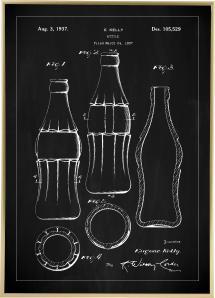 Patenttegning - Coca Cola flaske - Sort Plakat