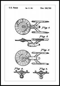 Patenttegning - Star Trek - USS Enterprise Plakat