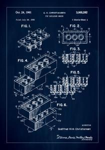 Patent Print - Lego Block I - Blue Plakat
