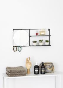 KAILA Rundt Spejl med hylde - Sort 55x25 cm