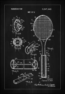Patent Print - Tennis Racket - Black Plakat