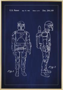 Patenttegning - Star Wars - Boba Fett - Blå Plakat