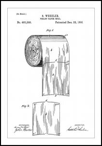 Patent Print - Toilet Paper Roll - White Plakat