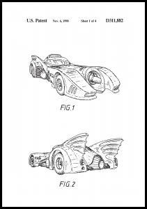 Patenttegning - Batman - Batmobile 1990 I Plakat