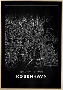 Kort - København - Sort Plakat
