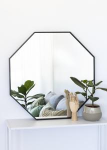 KAILA Spejl Octagon Sort 70 cm Ø
