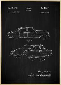 Patenttegning - Cadillac I - Sort Plakat