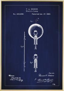 Patenttegning - Elpære B - Blå Plakat