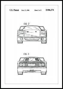 Patenttegning - Ferrari F40 III Plakat