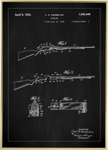 Patenttegning - Rifler I - Sort Plakat