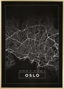 Kort - Oslo - Sort Plakat