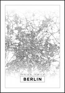 Kort - Berlin - Hvid Plakat