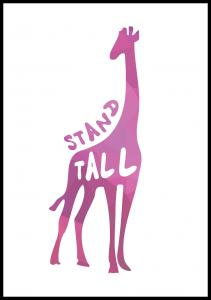 Giraffe stand tall - Rosa Plakat