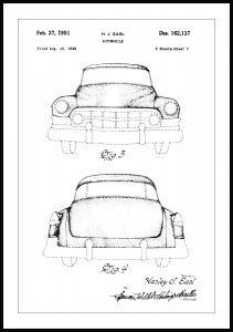Patenttegning - Cadillac II Plakat