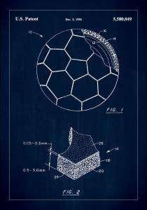 Patent Print - Football - Blue Plakat