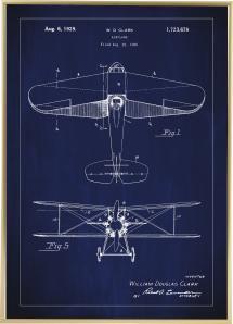 Patenttegning - Fly - Blå Plakat