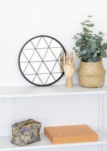 KAILA Rundt Spejl Triangles - Sort 35 cm Ø