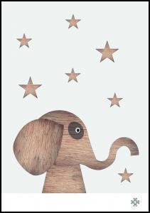 Wood elephant Light Plakat