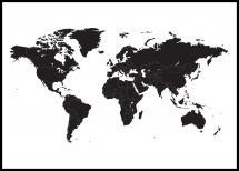 Verdenskort - Sort Plakat