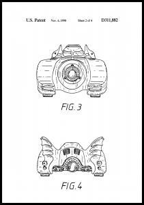 Patenttegning - Batman - Batmobile 1990 II Plakat