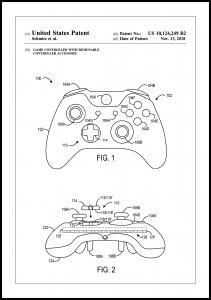 Patent Print - Game Controller III - White Plakat