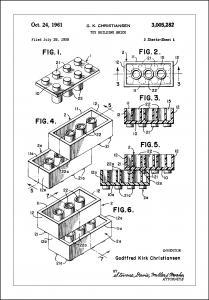 Patent Print - Lego Block I - White Plakat