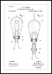 Patenttegning - Elpære A - Hvid Plakat