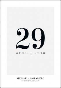 Fødselstavle Dato - Grå
