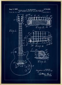 Patenttegning - El-guitar I - Blå Plakat
