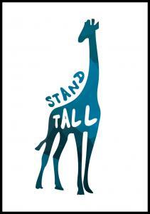 Giraffe stand tall - Blå Plakat