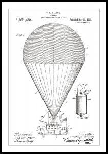 Patenttegning - Luftskib - Hvid Plakat