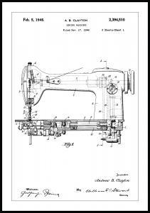 Patenttegning - Symaskine I Plakat