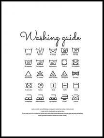 Washing guide white Plakat