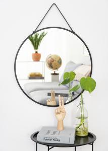 Spejl Trapani Sort 60 cm Ø