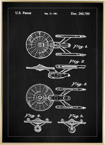 Patenttegning - Star Trek - USS Enterprise - Sort Plakat