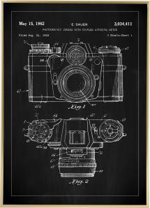 Patenttegning - Kamera I - Sort Plakat