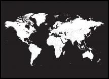 Verdenskort Hvid Med Sort baggrund Plakat