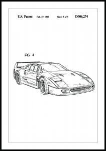 Patenttegning - Ferrari F40 II Plakat