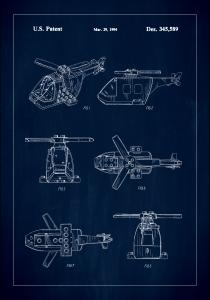 Patent Print - Lego Helicopter - Blue Plakat