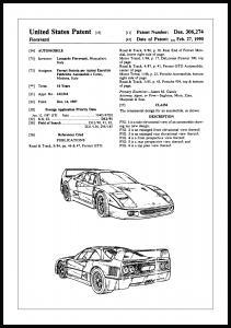 Patenttegning - Ferrari F40 I Plakat