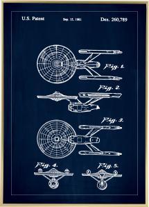 Patenttegning - Star Trek - USS Enterprise - Blå Plakat