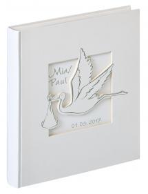 Cicogna Babyalbum Hvid - 28x30,5 cm (50 Hvide sider / 25 blade)