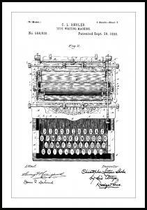 Patenttegning - Skrivemaskine Plakat