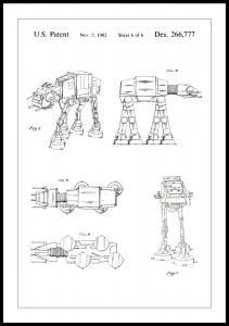 Patenttegning - Star Wars - Walker - Hvid Plakat