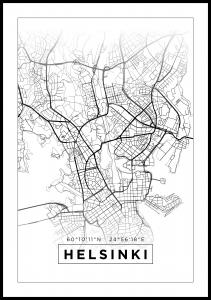 Kort - Helsinki - Hvid Plakat