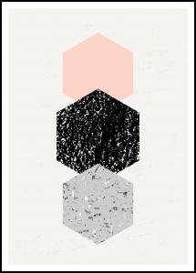 Abstract Hexagons Plakat