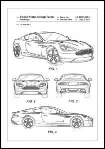 Patent Print - Aston Martin - White Plakat
