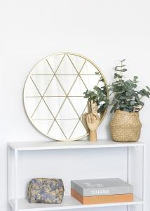 KAILA Rundt Spejl Triangles - Guld 55 cm Ø